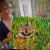 owl in flowers painting, parsley pie kids art club cheshire