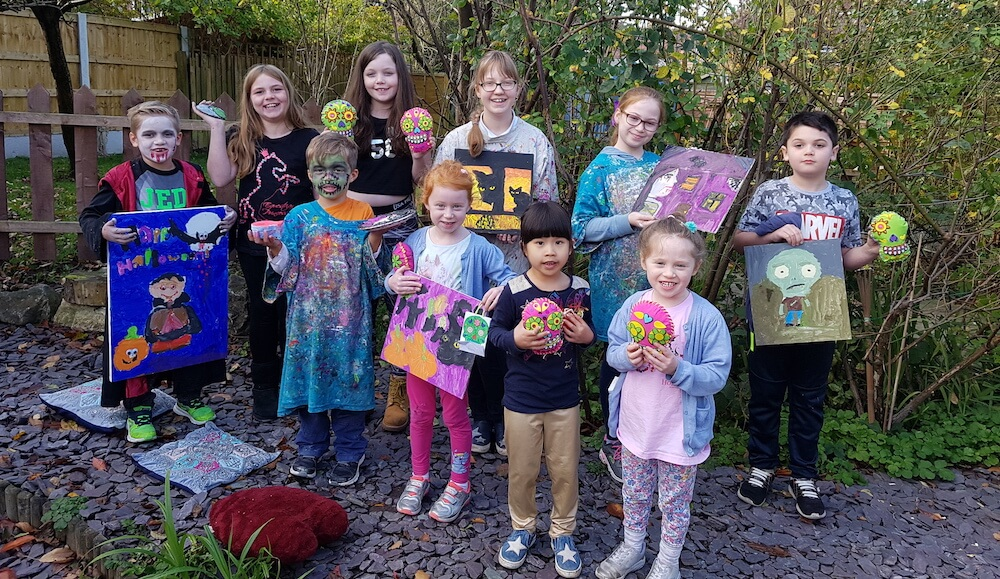 Fantastic Halloween creative workshop at Parsley Pie art club Hale