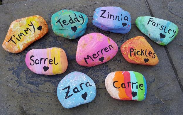 Rock art, Beautiful hand painted pet memorial rocks, parsley pie art club hale