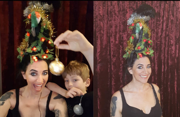 Bonkers Christmas tree hair! Festive head decorations!